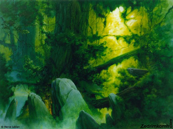 An exotic vision of a millenial giant tree in a deep green virgin forest, a unexplored and fantastic jungle, wild and untouched with primitive standing stone. a fantasy view of science-fiction. It is alike frazetta, Jeffrey jones, Roger dean, Regis loisel, siudmak, Thomas moran painting, drawing or illustration